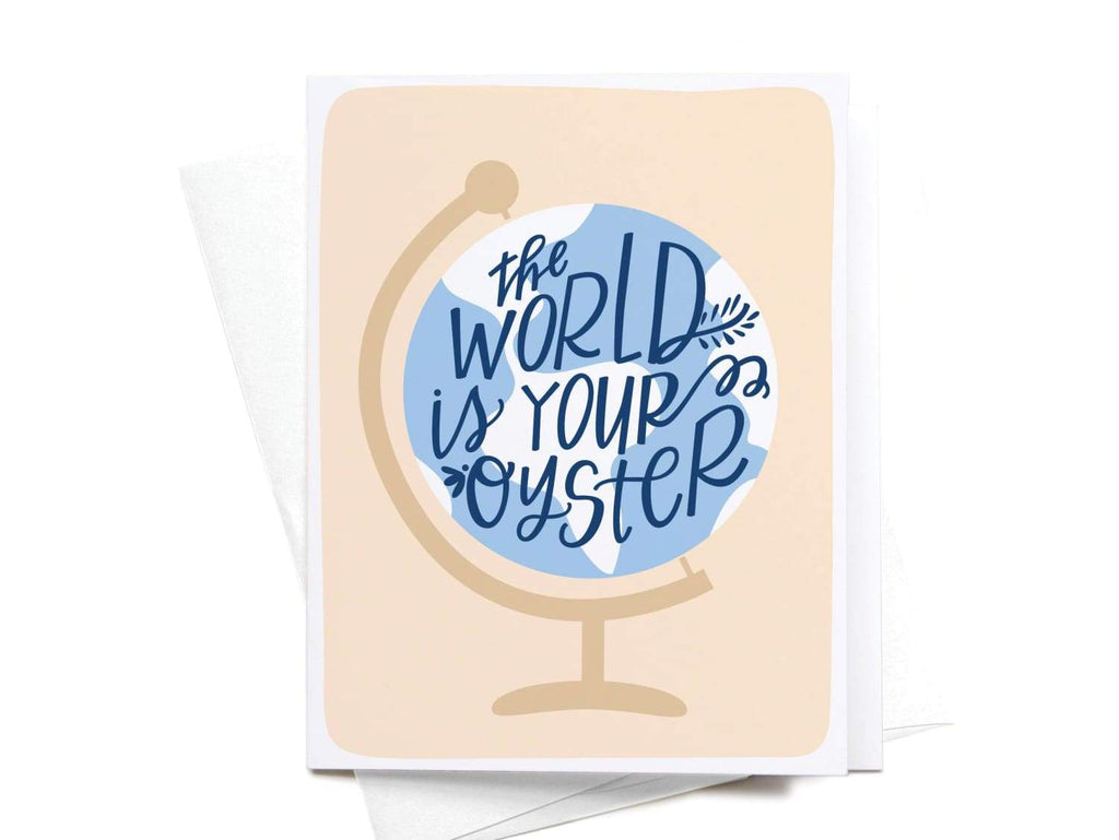 The World Is Your Oyster Globe Greeting Card - onderkast-studio