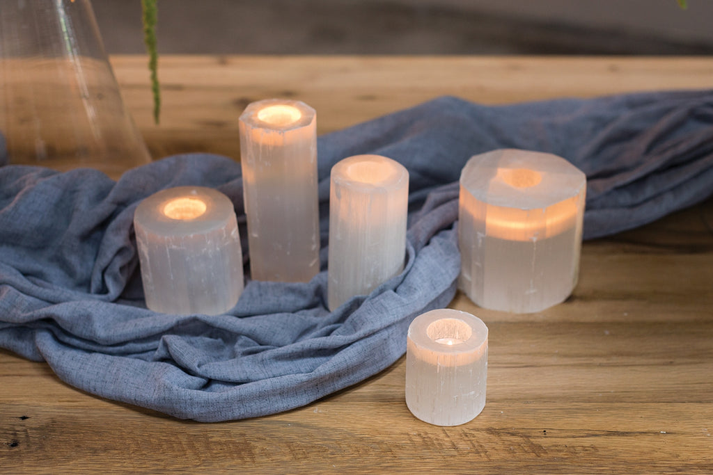 Natural stone candle holders