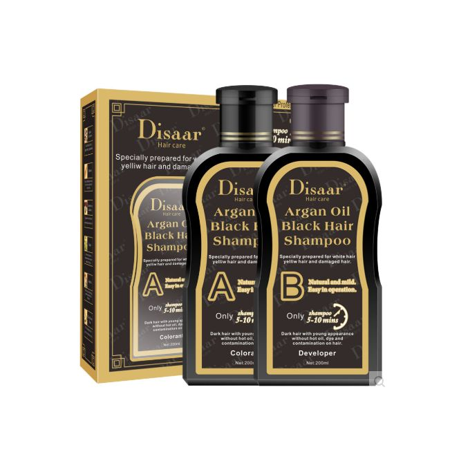 Argan Oil Hair Black Shampoing Colorant noir