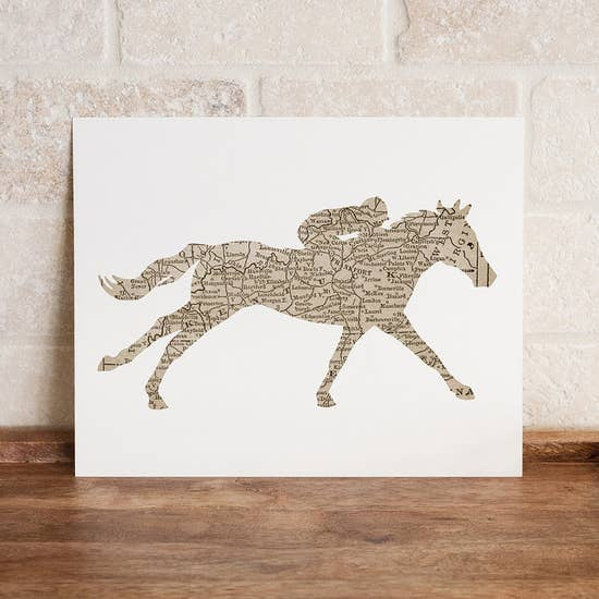 Kentucky Map Racehorse Print