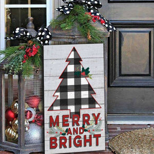 "11"" x 20"" Merry And Bright Whitewash Indoor/Outdoor Sign"