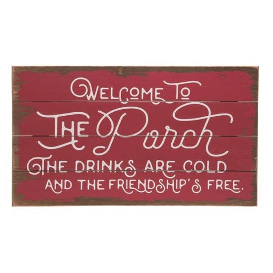 Red Spring Porch Welcome Sign