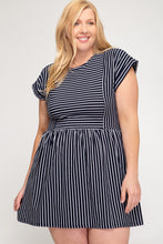 Load image into Gallery viewer, Black & White Striped Dress