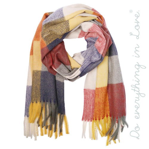 Color Block Scarf with Fringes