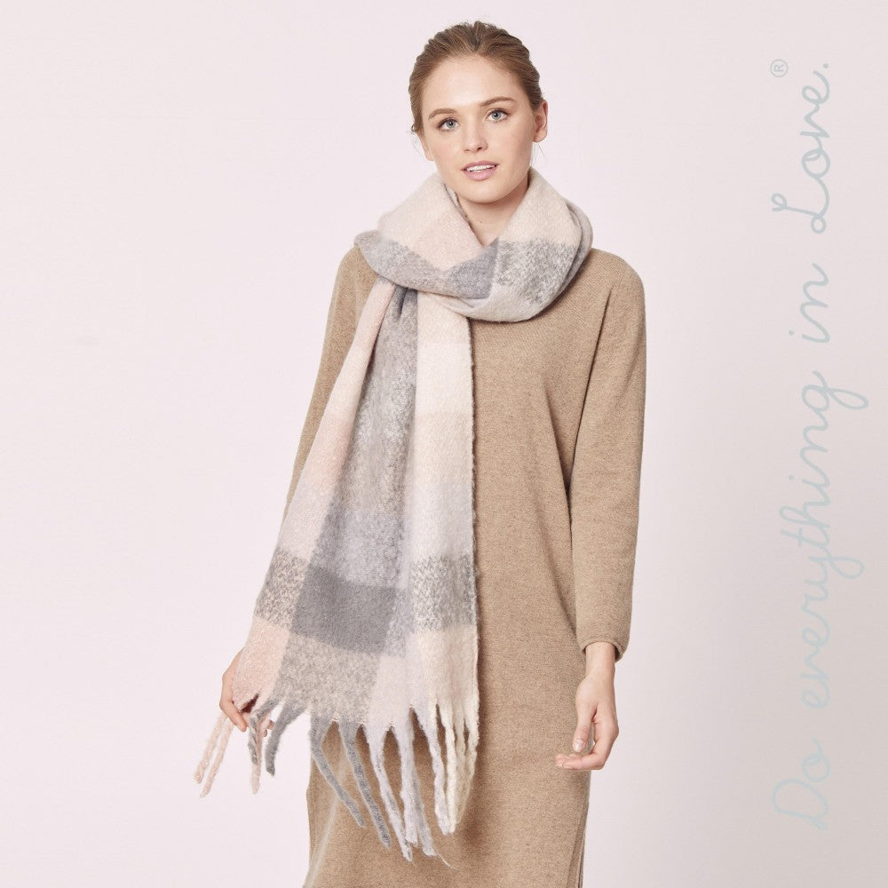 Plaid Scarf with Fringes - Soft Touch