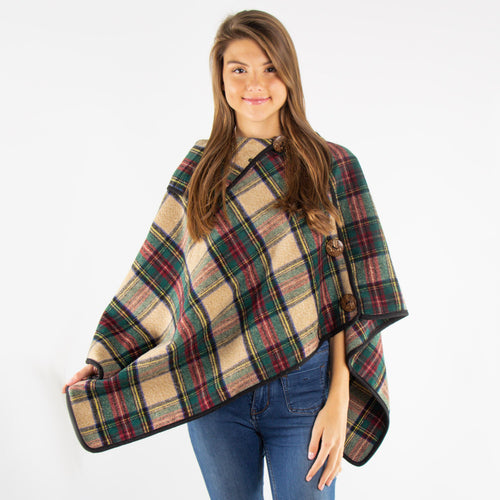 Plaid Poncho With Buttons