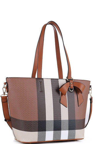 Ribbon Charm Plaid Tote