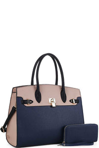 Two-Tone Classy Satchel and Wallet Set