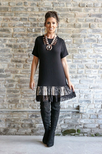 Tunic Dress with Snake Skin & Lace Detail
