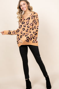 Leopard Drop Shoulder Sweater Taupe