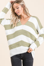 Load image into Gallery viewer, V-Neck Slouch Stripe Sweater Moss