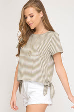 Load image into Gallery viewer, Striped Short Sleeve Top with Side Ties