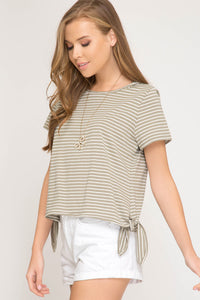 Striped Short Sleeve Top with Side Ties