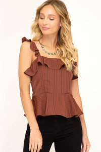 Glen Plaid Ruffled Top