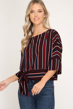Load image into Gallery viewer, Half -Sleeve Striped Top With Tie