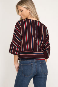 Half -Sleeve Striped Top With Tie