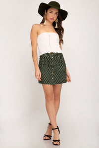 Polka Dot Button Down Skirt
