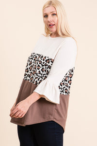 Leopard Color Bell Sleeve Top