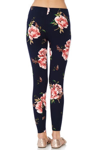 Floral Leggings in Wine