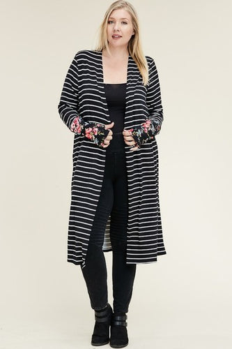 Navy Stripe Duster w/ Floral Cuffs