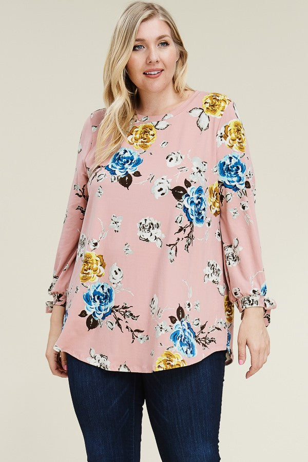 Black Floral Tunic with Tie Sleeves