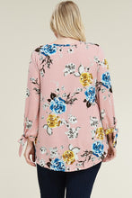 Load image into Gallery viewer, Black Floral Tunic with Tie Sleeves