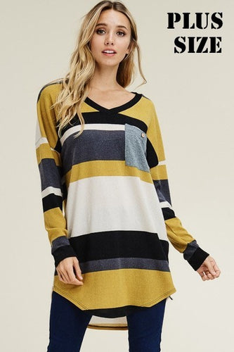 Mustard Color Blocked Sweater with Pocket