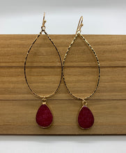 Load image into Gallery viewer, Teardrop Semi Precious Stone Earring