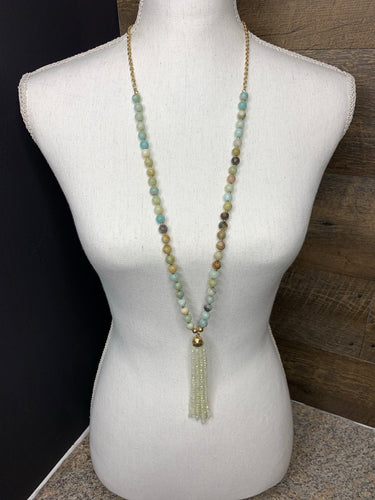 Mint Stone Crystal Tassel Necklace