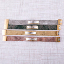 "Load image into Gallery viewer, ""LOVE"" Metallic Faux Leather Bracelet"