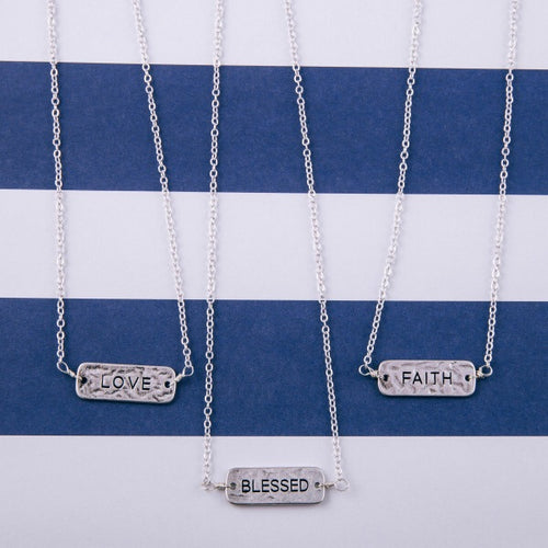 Engraved Bar Necklace Silver-tone