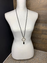 Load image into Gallery viewer, Black Crystal Clover Necklace with Teardrop Stone