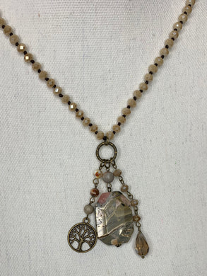 Convertible Crystal Necklace With Semi-precious Stone Pendant