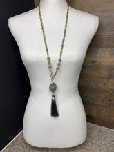 Load image into Gallery viewer, Gray Semi-precious Stone Necklace With Tassel