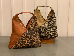 Animal Print Vegan Leather Slouch Bag