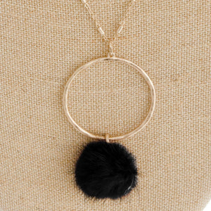 Faux Fur Puff Necklace