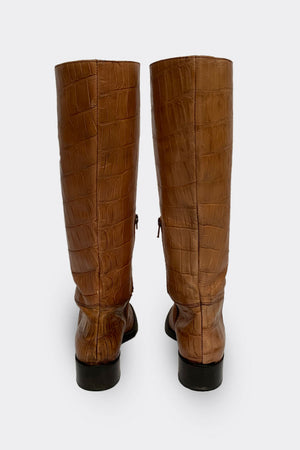 Russel & Bromley Croc Knee High Boots Size 37