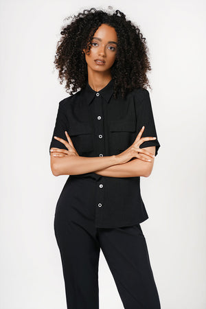 Y2K Woven Shirt With Monochrome Buttons