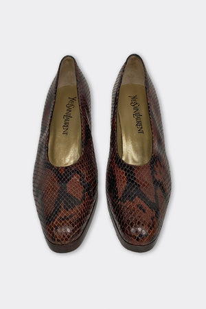 YSL Python Leather Court Shoes Size 38 (UK 5)