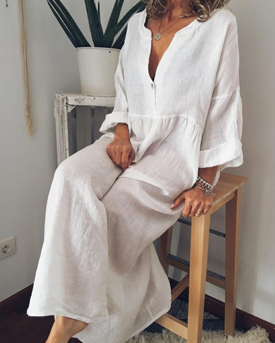 Lin manches longues occasionnels robes col V