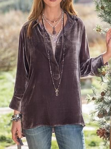Velvet V Neck Casual Tops