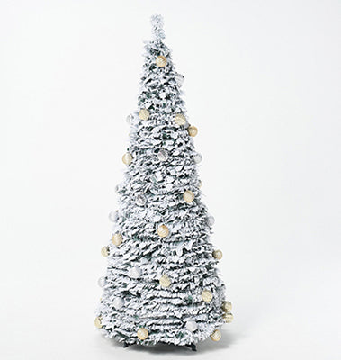 6' Flocked Pre-Lit Pop-Up Tree - silver/gold