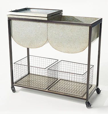 Entertainment & Garden Metal Galvanized Cart