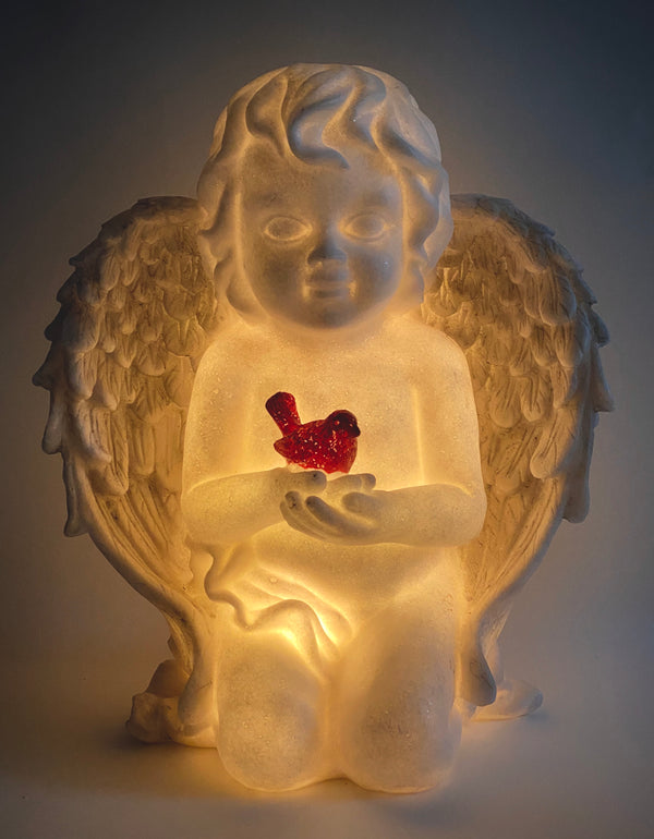 Barbara King Sandstone Angel with Cardinal in Hand