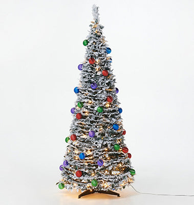 6' Flocked Pre-Lit Pop-Up Tree - Multi