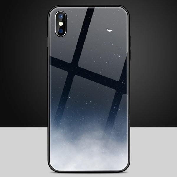 Tempered Glass Space Case For iPhone XS Max XR X 8 7 6 6s Plus Soft TPU Edge Case 8plus Starry Moon Cover Coque