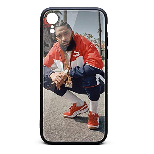 Nipsey Tempered Glass Phone Case for iPhone XR Slim Unisex Fancy Black