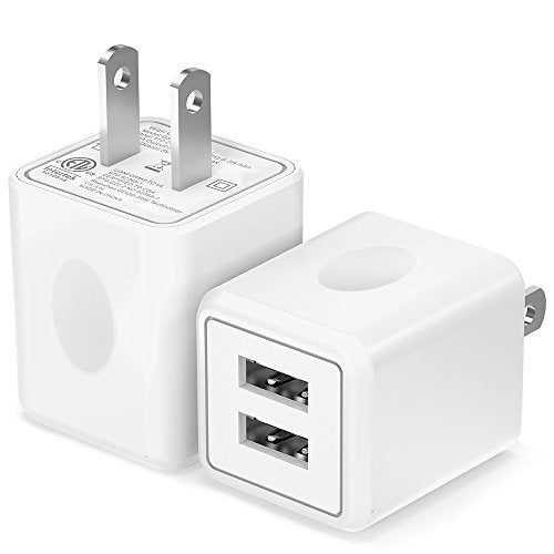 Amazon.com: USB Wall Charger,Moallia 2-Pack Dual Port USB Power Adapter Wall Charger Plug Compatible with iPhone X/8/7/7 Plus/6s/6s Plus, iPad Pro/Air, Samsung S9/S8/S7, HTC, LG, Huawei, Google Nexus and More: Cell Phones & Accessories