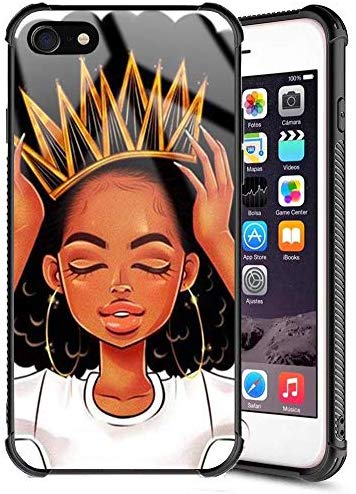 IPHONE 7 iPhone 8 Case African Afro Girls Women Slim Fit Shockproof Bumper Cell iPhone Accessories Black Tempered Glass Protective Apple iPhone 7/8 Case - Queen Girls: XanaduC