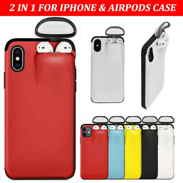 2 In 1 Phone Case Earphone Storage Box For iPhone 11 Pro XS MAX XR X 7 8 Plus Airpods 1 2 Pro Soft Silicone Cover Headset Caps